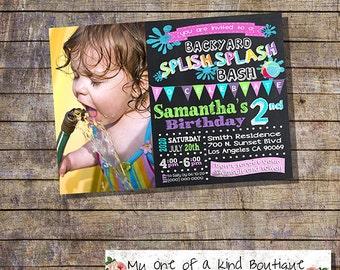 Backyard Splish Splash party bash invitation birthday girl party pink photo invite chalkboard digital printable invitation 13520