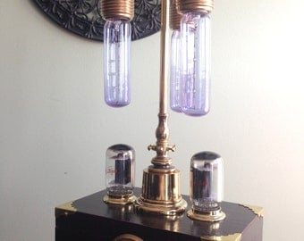 Steampunk handmade one of a kind lamp with built in dimmer, recycled vacuum tubes and amperes meter