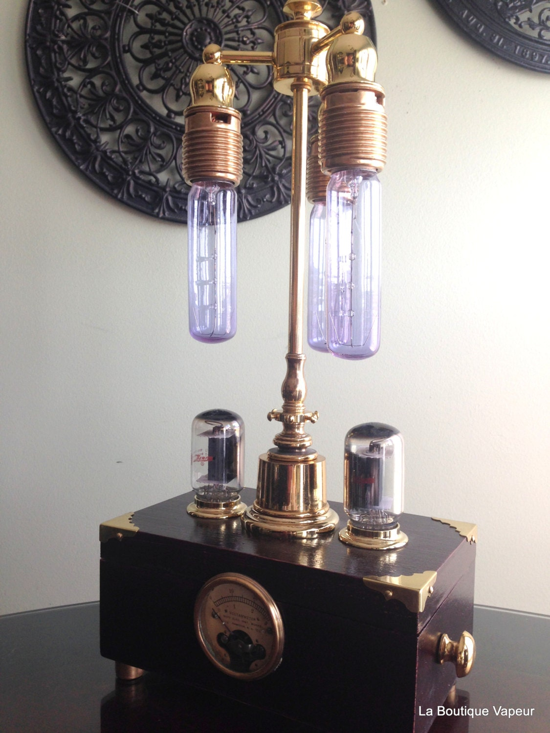 Steampunk Handmade One Of A Kind Lamp With Built In Dimmer