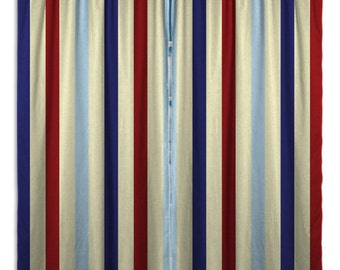 Striped Printed Window Curtains, Blue and Red Window Curtain Panels, Retro Kitchen Curtains, Custom Sizes from extra wide to small #151