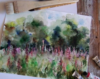 Flowers Field Landscape, ORIGINAL Watercolor painting, Summer Landscape, Green Pink, nature painting