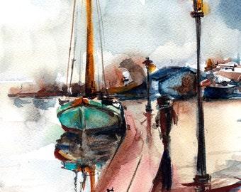 Original Watercolor Painting, Sailboat, Pier and Lantern, Watercolour Art, Nautical Painting