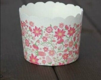 CLEARANCE SALE! Pink Floral Garden Flower Baking Cups Muffins Cups Treat Cups (20)