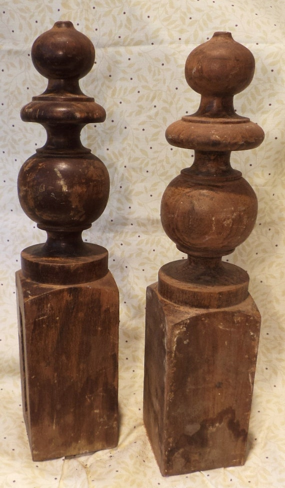 pair of solid turned wood finials antique furniture