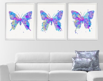 Watercolor Butterfly Print Set, Butterfly Art Print, Butterfly Wall Art, Baby Girl Nursery, Girls Room Decor, Nature Art, Butterfly Painting