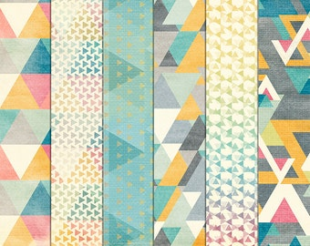 Geometric Digital Paper - Triangle Pattern Background Paper - Cream Teal Yellow Digital Scrapbook - Printable - 12x12 - Instant Download