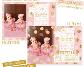 Twin Birthday Invitations Printable Twin 1st Birthday Invites