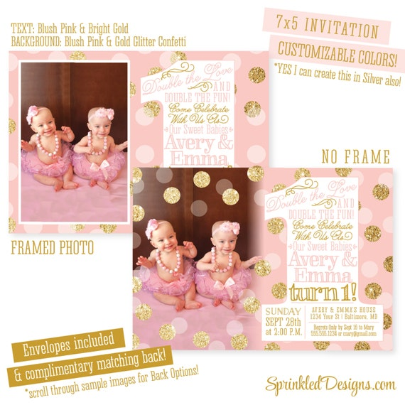 Twins First Birthday Invitations Twin Girls 1st Birthday – Twin 1st Birthday Invitations