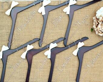 Set of 7 Personalized Bridal Hangers, Custom Hanger, Wedding Party Hangers, Bridesmaid Gift, Bride Hanger