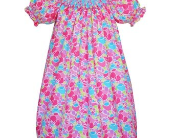 Smocked girls pink bishop dress puffy short sleeve, multicolored print fabric 100% cotton size  6 months    17919