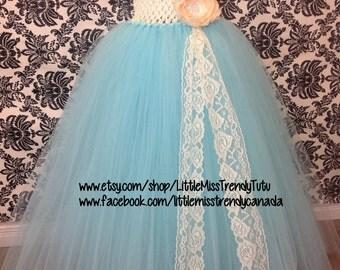 Aqua Blue Tutu Dress, Tutu Dress Aqua Ivory, Flower Girl Tutu Dress, Ivory Flower Girl Tutu, Tutu Dress, Turquoise Tutu Dress, Aqua Dress