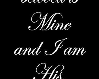 WW931  I Am My Beloveds Wedding Aisle Runner Stencil