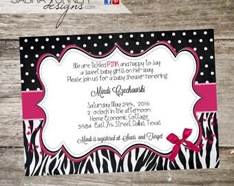 Zebra Baby Shower Invitation • Zebra and Hot Pink Baby Shower Invitation • Hot Pink Baby Shower Invitation • 5x7 DIY Print Your Own