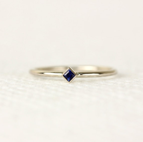 Princess Cut Natural Sapphire Ring In 14k White by KHIMJEWELRY