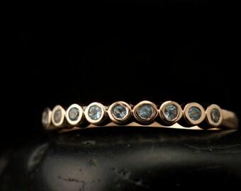 Aquamarine Wedding Ring in White Gold, 9 Round Brilliant Cut Bezel Set Stones, Flat Bottom on Band, Mothers Ring, Cadence A