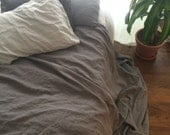 Heavy Linen Blanket - grey / gray / King / Queen / Twin - Rustic - Boho - Chic - Misses Country
