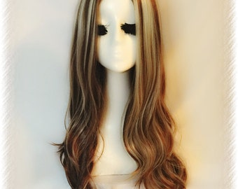 Long Brown & Blonde Wig Wavy Hair With Middle Part Handmade Cosplay Wig