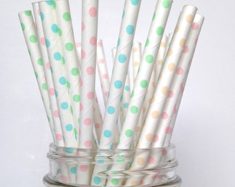 Ice Cream Party Straws- Polka Dot Straws with Dainty Polka Dots in Pastel Colors