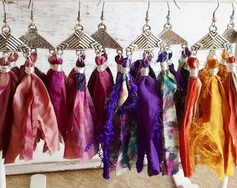 Ethnic earrings silk of Indian sari, colored fabrics, big bohemia earrings
