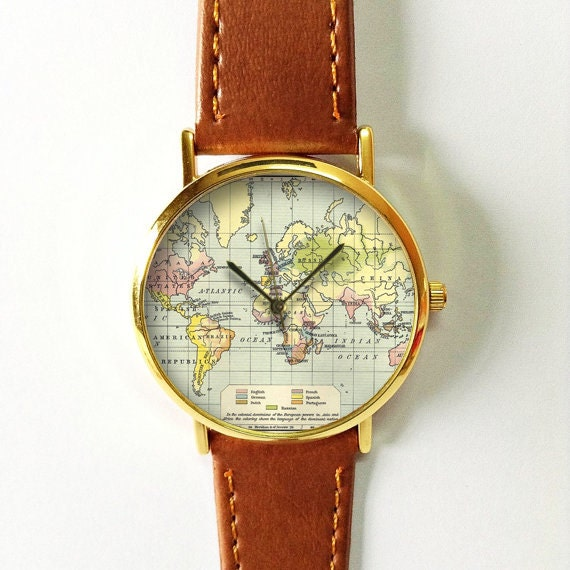World Map Watch with Grid Leather Watch Women Watches