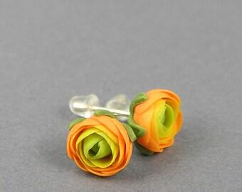 Tiny orange ranunculus earrings, flower jewelry, orange flower earrings, polymer clay jewelry, stud earrings, floral earrings