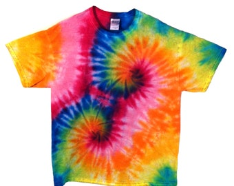 Rainbow Shirt Tie Dye Bright Multi-Color Feativalwear and Fashion Rainbow Spiral
