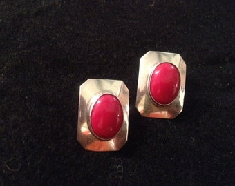 Vintage Southwestern Style Sterling Silver and Red Coral Earrings
