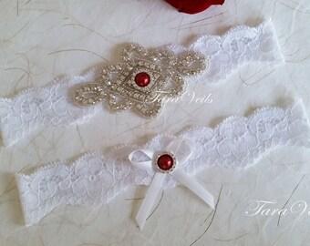 Wedding White Garter | Bridal | Rhinestone Garter | Wedding garters | Bridal garter | Lace garter | Vintage Garter