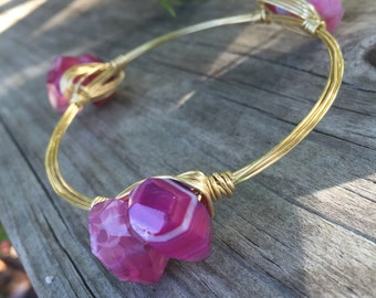 close out!  Hot Pink Fire Agate Nugget Wire Wrapped Bangle - QTY 1