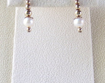USA White Genuine Freshwater Pearls & 14kt Gold Filled Dangle Earrings with Pretty Gold Filled Accents (E