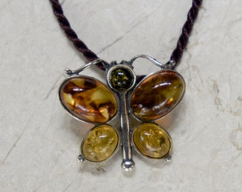Amber Pendant, Amber Necklace, Tri Color Amber, Silver Amber Necklace, Custom Amber Pendant, Amber Butterfly Pendant, Amber Butterfly