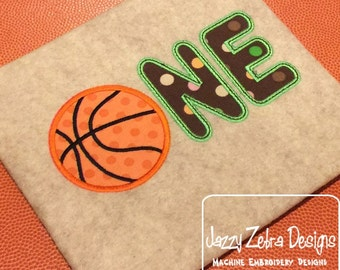 One Basketball Appliqué Embroidery Design - 1st birthday appliqué design - one year old