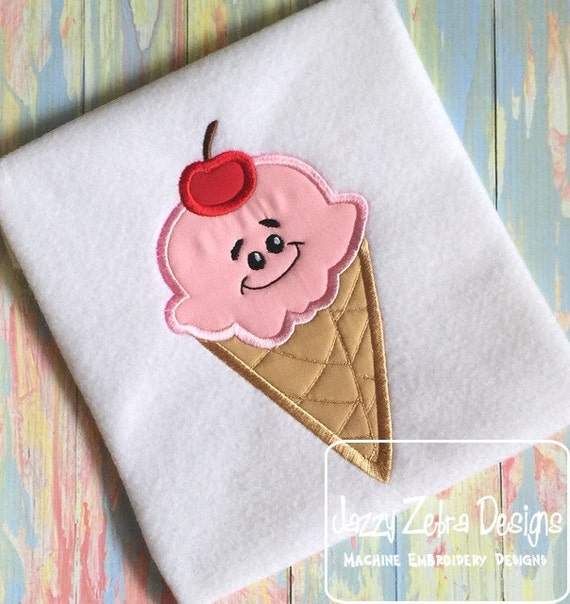 Ice cream Waffle Cone with Face Appliqué embroidery Design - ice cream Appliqué Design - cone Appliqué Design - summer Appliqué Design