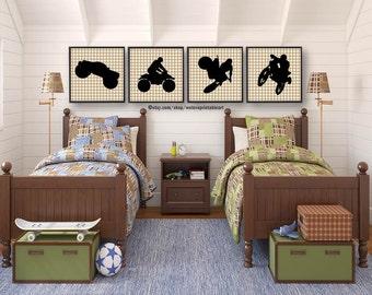 Motorcycle, Dirt Bike, Monster Truck, Boys Bedroom Decor, Boys Room Decor,