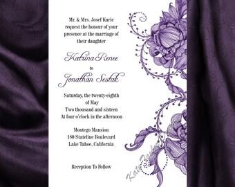Victorian Wedding Invitation U0026 RSVP Vintage Wedding Invitation   Price  Includes Matching Envelopes And Printed Return