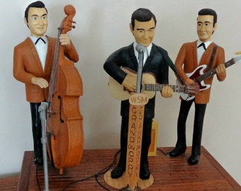Johnny Cash and the Tenesee two, realistic woodcarved scene