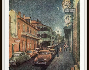 New Orleans Art Print, French Quarter Cityscape, 8 x 10 Vintage Book Plate Illustration, Ready to Frame