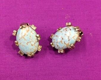 Blue clip on earrings