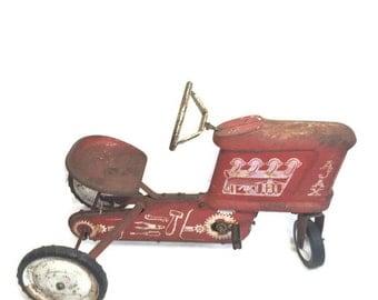 Red Ajax Pedal Car Tractor Vintage