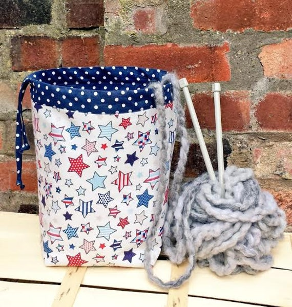 Crochet Project Bag : DRAWSTRING Knitting Bag Crochet Project Bag NAVY Blue POLKA Stars ...