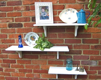 "Solid White wall shelves (pictured) 7.25"" deep with Plate Groove, Wall Decor, Modern white shelf, Mix and Match shelves, Select Size & Color"
