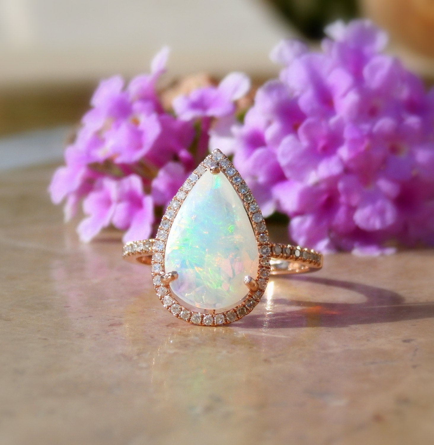 Opal Engagement Ring Opal And Diamond Ring Welo Opal Ring