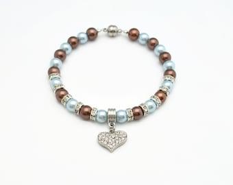 Blue & Brown,Pearl Dog Collar,Pearl Cat Collar,Beaded Dog Collar,Beaded Cat Collar,Fancy Dog Collar,Fancy Cat Collar,Rhinestone Heart Charm