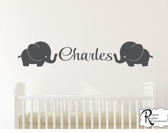 Nursery Name Decal- Elephant Wall Decal - Elephant Decal with Name- Elephant Nursery Decal - Elephants Decal with Name