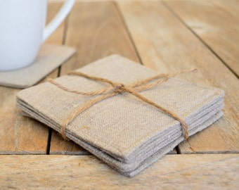 Set of 4 Natural Linen Coasters, Fabric Coasters, Modern Coasters, Burlap Look Coasters, Rustic Coasters, Drink Coasters, Mug Rugs