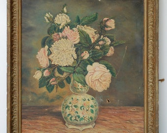 French vintage oil on canvas of an art style flower bouquet new painted between 1870 and 1899 French vintage and shabby chic