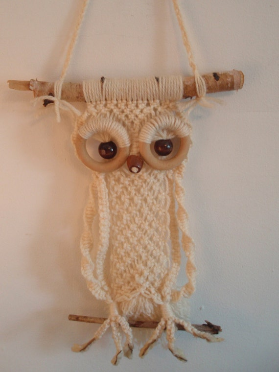 Cutest 70s Macrame Owl Wall Hanging Funky Groovy Boho