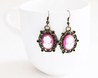 Victorian Lady Pink Cameo Earrings