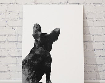 French Bulldog, Mens Gift Idea, Black and White Dog Illustration, Frenchie Poster, Home Decor