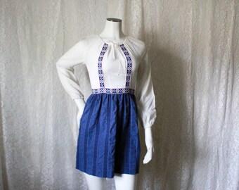 Blue and White Swiss Dot Mini Dress - XS